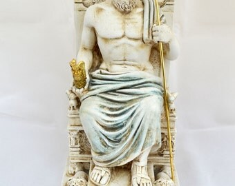 Zeus Ancient Greek God king leader of all 12 Gods sculpture Throne statue (26cm)