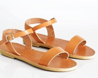 Leather Sandals, Ankle strap sandals , Handmade Greek women sandals