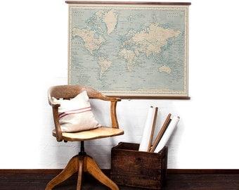 World Map in Caspian Blue wall hanging
