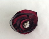 Red and Black Taffeta Velvet Organza Christmas Flower Clip  with Pearls