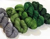 Handdyed Merino/Silk Lace Yarn - Pines Palette Gradient -  grey, gray, silver, pine, green, sage, forest