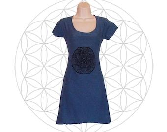 Organic cotton and Hemp dress with Mandala print- Handmade and dyed to order using Organic cotton and Hemp jersey