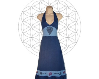 Organic cotton and Hemp Dress - Cats down under the stars dress - Custom made to order Organic cotton and Hemp jersey