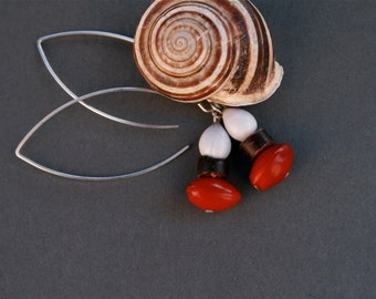 long dangle earrings with natural red seeds - botanical jewelry - ethnic earrings