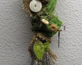 A helpful Green Kitchen Witch,  Assemblage Art doll Shabby Chic,  Decor OOAK
