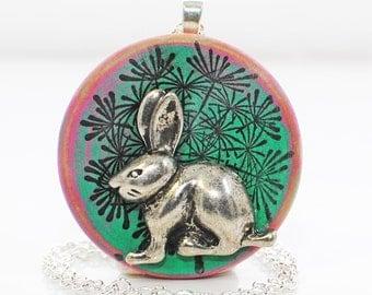 Rabbit Jewelry Bunny Necklace Dandelion - Rabbit Pendant - Bunny Jewelry - Rabbit Necklace - Bunny Pendant - Pet Rabbit - Woodland Animal