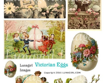 VICTORIAN EGGS digital collage sheet DOWNLOAD vintage images flowers Easter children woman man lady antique postcards ephemera altered art