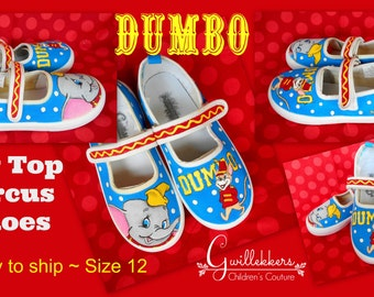 Ready to ship!! Custom Hand Painted Canvas Toddler Girls Mary Jane Shoes Dumbo Circus Size 12