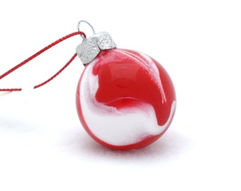 Last One! Red and White Mini Glass Ball - Ornament Hand Painted Inside