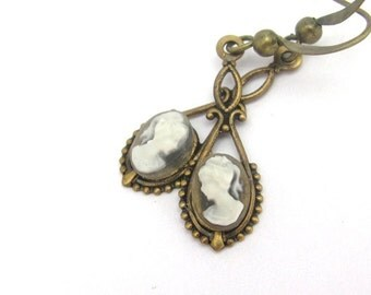 SALE Cameo Earrings, Dainty Earrings, Victorian Cameo Earrings, Bridal Wedding Jewelry, Art Deco Wedding, Art Nouveau Earrings, Hawaii Beads