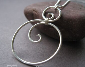 Sterling Silver Circle Scroll Pendant
