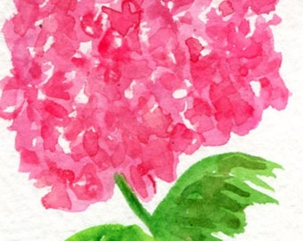 ACEO original Pink Hydrangea Watercolors Paintings, Hydrangea Art Card hydrangea painting, ACEO card, miniature painting, SharonFosterArt