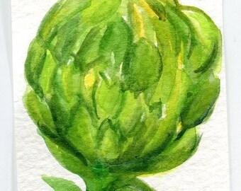 ACEO Artichoke Watercolor Painting ACEO, vegetable art card, miniature painting of artichoke, kitchen artwork, original artichoke art