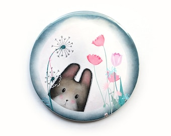 Ili Pika pocket mirror - magic rabbit in the moon animals mirrors cute kawaii flowers