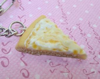 Kawaii Cheese Pizza Keychain, Polymer Clay Food Jewelry