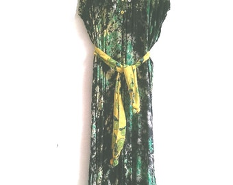 Caftan, Long Dress, Upcycled, Green, Yellow, Black, Embroidered, Cotton Dress, Bohemian, Lounge, Boho Clothing