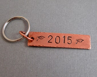 Graduation Keychain 2015 or any year- Personalized - Copper & Nickel