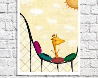 Whimsical Giraffe Nursery Print Children's Poster Kids Wall Art Girls Room Decor Baby Boy Artwork Rollercoaster Yellow Nursery Illustration
