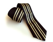 """Racing Stripe necktie: """"Special Formula"""" black & gold livery tie. Auto enthusiast men's tie. Your choice of size."""