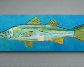 Snook Art Block Sign- Beach Theme Bedroom- Fish Gifts for Young Men- Snook Print- Fishing Gift Ideas- Fishing Gift for Men- Fishing Presents