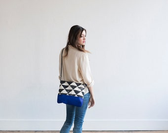 READY TO SHIP Limited Edition, The Greta Triangle with Cobalt Blue Suede, Anna Joyce, Hand Printed
