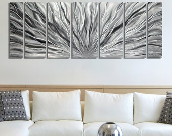 SALE!! Large Multi Panel Metal Wall Art in All Silver, Decorative Abstract Wall Sculpture for a Modern Decor - Silver Plumage by Jon Allen