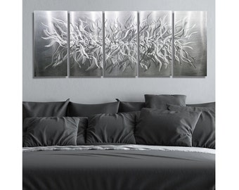 Natural Silver Modern Metal Wall Sculpture - Abstract Metal Wall Art - Handmade Etched Wall Decor - Accent - Friction by Jon Allen