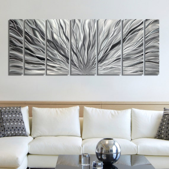 multi panel metal wall art in all silver decorative abstract wall
