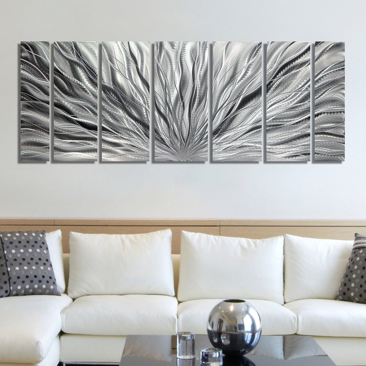Sale large multi panel metal wall art in all silver for Contemporary decorative accessories