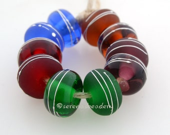 GEM FINE SILVER Wraps - Lampwork Glass Beads - amber amethyst ruby emerald sapphire - Handmade Buyer's Choice - taneres - 11 mm