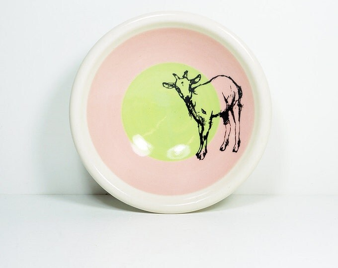 small dish, with a billy goat on a color block of bubblegum & tinda, made to order.