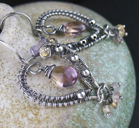 Wire Wrapped Ametrine Earrings, Wire Wrapped Ametrine Jewelry, Wired Gemstone Earrings, Wired Purple Tan Earrings, Wired Jewelry