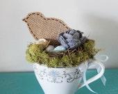 Tea Cup Bird Arrangement , Assemblage Art , Vintage Altered Art , Mother's Day Gift Idea