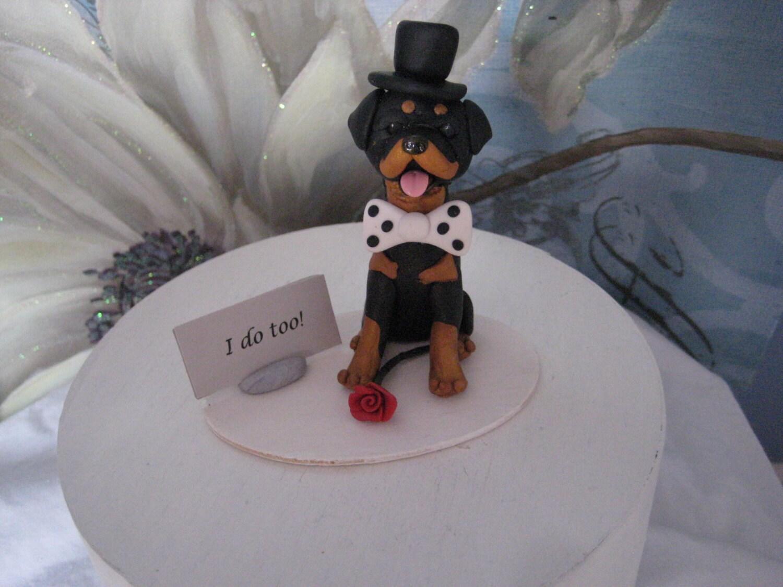Rottweiler dog single dog wedding cake topper handmade