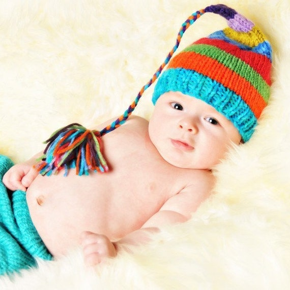 Newborn Knit Rainbow Hat Boy Girl BaBY PHoTO PRoP Stripe SToCKiNG CaP Long Tassel Beanie CoMiNG HoMe FCN Toque Choose Color Baby Shower Gift