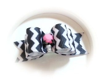 Dog Bow, Chevron Puppy Bow, Black Chevron Ribbon, Dog Hair Bow, Small Dog Bow
