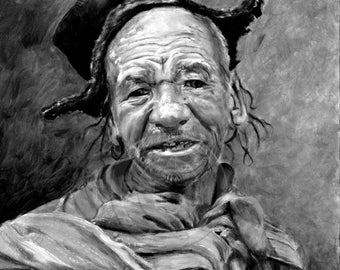 Tibetan Man Painting - Figurative Painting - Poster and Canvas Prints