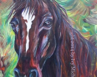 "Custom Horse (Pet) Portrait: Original Acrylic Painting, 12"" x 16"" or 16"" x 20"""