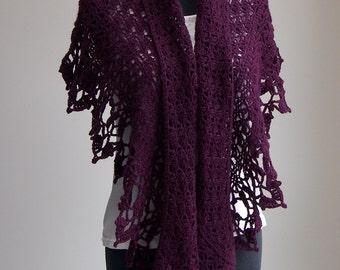 Custom Crochet Lace Shawl Scarf Wrap Cowl, Cashmere Merino, Stylish Comfort Prayer Meditation, Women's Fashion, FREE SHIPPING