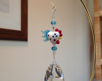 Rooster Hen Chicken  Sun Catcher Ornament 50mm XL Swarovski  Tear Drop Prism  #8721 White with Turquoise and Turquoise Accents LOGO ETCHED