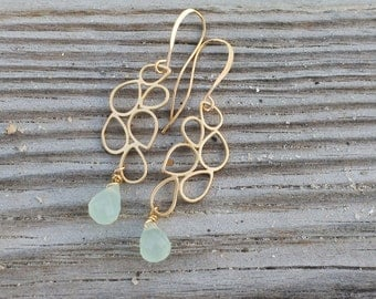 Gold or Silver Bubble Earrings with Aqua Teardrop. Edisto Collection. Bridesmaids Earrings.