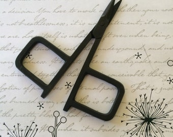 Matte Black embroidery scissors primitive style finish designer cutting tool for threads and yarns