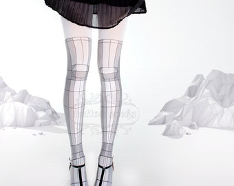 Tattoo Tights - 3D model white one size full length printed closed toe tights pantyhose tattoo socks