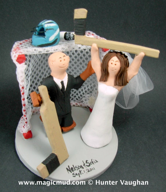 custom hockey wedding cake toppers hockey wedding cake topper goalie groom wedding cake 13202