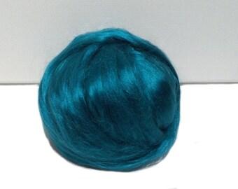 Teal Bamboo roving, Felting Spinning, vegan fiber silk alternative, nuno needle felt, teal roving, blue green, blue