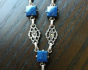 Antique Vintage Art Deco Marcasite and Lapis Necklace