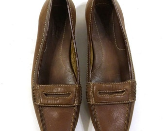 Cole Haan Loafers / Brown Leather Slip On Penny Loafer Oxfords / Women's Size 8.5