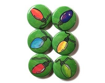 Christmas Pins or Magnets - 1 Inch Holiday Light Magnets or Pinback Button Set, Christmas Lights - Pin Backs, Badges, fridge magnet set
