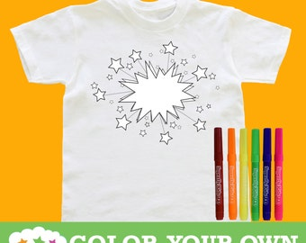 Color Your Own T-Shirt with Fabric Markers: 3 Designs & Sizes To Choose From! Party Favor, Superhero Party, Activity.