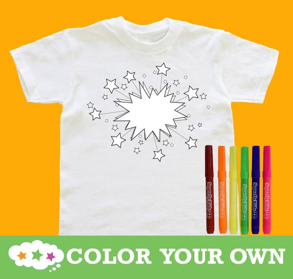 Color your own t shirt with fabric markers 3 designs sizes Design my own shirts